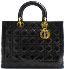 LADY DIOR GM XL CHRISTIAN DIOR HAND BAG TASCHE CANNAGE GROß LACKLEDER PATENT