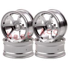 4xWheel Rim 1052 SILVER Aluminum 6 Spoke RC 1/10 On-Road Drift Sakura HSP Tamiya