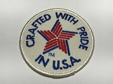 Crafted With Pride in USA Patch Red White Blue Star Patriotic America Round A
