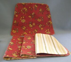 Floral Strip Reversible Placemats Wedge Shaped Burgundy Flowers Reverse Stripes