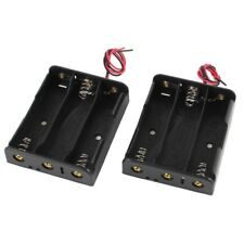 1X( 2 Pcs Black Plastic Battery Holder Case w Wire for 3 x 18650 11.1V Y8N8)