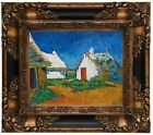 van Gogh Three white cottages in Saintes-Maries Wood Framed Canvas Repro 8x10