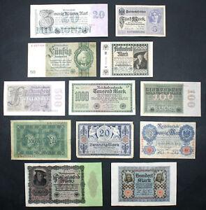 GERMANY - Set of 12 Reichmarks Mark Notes Notgeld 1910-1933 (VG-XF)