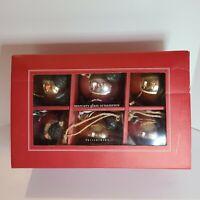 "Pottery Barn Set Of 6 Mercury Glass Christmas Ornaments Silver Gold Ball 3"""