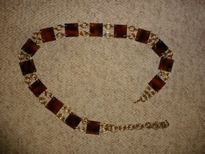 Faux Square Cow Horn Gold Brass Chain Belt Vintage Hippie Boho Western Hipster