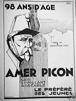 PUBLICITÉ 1935 90 ANS D'AGE AMER PICON STIMULANT AGRÉABLE LE PRÉFÉRÉ DES JEUNES