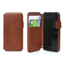 Luxury Genuine Real Leather Flip Case Skin Wallet Cover For iPhone5 5S Brown