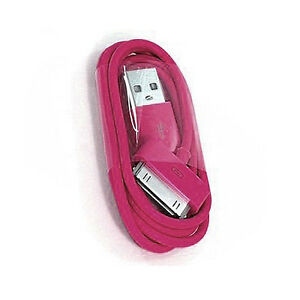 USB DATA CHARGER CABLE FOR APPLE IPOD NANO TOUCH CLASSIC 2G IPHONE 3G HOT PINK