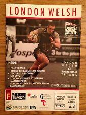 London Welsh v Rotherham Titans - Rugby Programme Played Jan 9th 2014 at Kassam