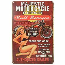 Majestic Motorcycle Retro Metal Tin Sign Homewares Decor Vintage Pinup Girl Bike