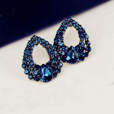 Fashion Women Charm Drop Luxury Crystal Blue Rhinestone Stud Dangle Earrings