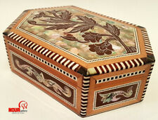 """Unique Egyptian Handmade Flower Wood Jewelry box Inlaid Mother of Pearl 7.2"""""""