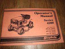 """Simplicity Series 4200 8 HP 11 HP 36"""" Riding Operators Manual Lawn Mower"""