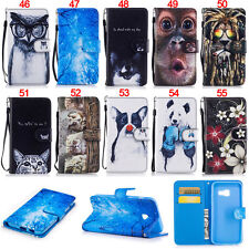 Cat Dog ID Wallet Leather Flip Case Cover For Samsung A3 A5 2017 J3 J5 S5 S6 S7