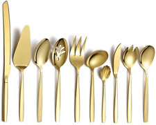 Gold Silverware Serving Set Stainless Steel Titanium Plating Anti Rust 10 Pieces