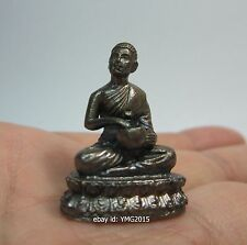 """1.25""""H """"PHRA UPPAKUT """"Silver-Brown Color Statue Thai Amulet for Beat the Barrier"""