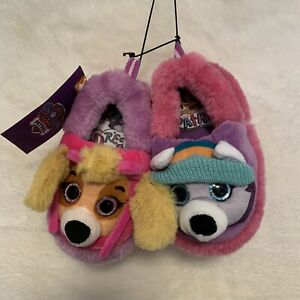 NWT Paw Patrol Slippers Toddler Size 5-6 Skye and Everest New, 3D Plush Fur Knit