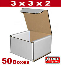 3x3x2 Small White Corrugated Cardboard Packaging Shipping Mailing Boxes 50 BOXES