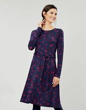Joules Womens Monica Long Sleeve Waisted Jersey Dress - Navy Berry Floral - 16