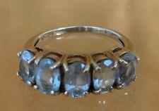 5 Aquamarine Stones Ring 10 k Yellow Gold Oval Shape Size 5