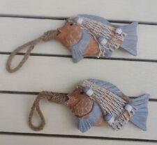NUOVO Paio Grosso Rustico di Legno Fish & Rete Appeso Decorazioni & Corda 15x10cm no P & P