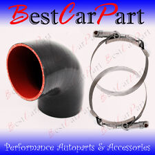 "BLACK Silicone 90 Degree Elbow Coupler Hose 2.75"" 70 mm + T-Bolt Clamps MZ"