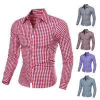 Stylish Men's Luxury Long Sleeve Casual Check Shirts Slim Fit Dress Shirts 1161U