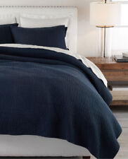 Pottery Barn Midnight Blue Pick-Stitch Handcrafted Cotton / Linen Quilt - Twin