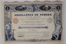 HOUILLERES de VENDES Part de Fondateur 1925 AMBIERES-LE-GRAND (MAYENNE)