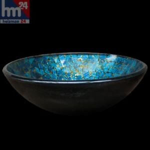 Deepblue Aufsatzwaschbecken Glas Waschschüssel FG329 rund Ø 42 cm Handmade