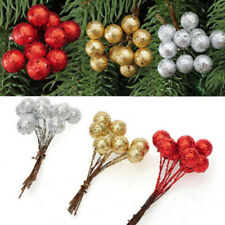 10Pc Pack String Glitter Christmas Ball Baubles Xmas Tree Hanging Ornament Decor