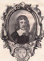 Portrait XVIIIe Wenceslas Hollar Wenceslaus Václav Graveur Dessinateur 1786