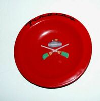 Vtg Rare Findlay Stove Red Metal Dish Plate Curling Rock Corn Broom Advertising