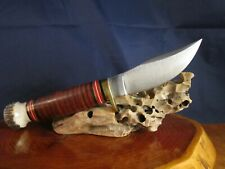 2002 USA Marbles Fieldcraft knife leather/stag handle NOS