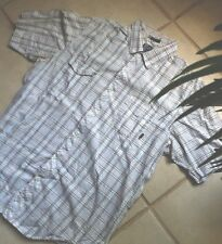 BILLABONG Shirt XL Mens Young Mens Short Sleeve White Plaid