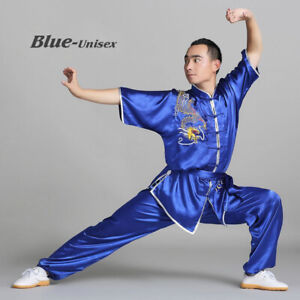 Chinese Kung Fu Tai Chi Uniform Martial Arts Changquan Suit Dragon Embroidery