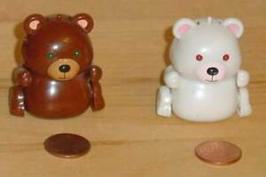 Tomy Micropets Brown Bear and White Bear 2002 Loose Tested and Working