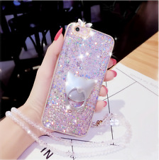 For Samsung S10+ S9 Note9 Bling Giltter Diamond Case & Cat Ring Stand & Necklace