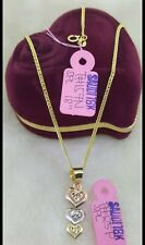 "Gold Authentic 18k gold necklace 18""chain with tri heart pendant"