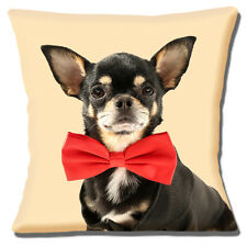 """Chihuahua Dog 16""""x16"""" 40cm Cushion Cover Black Tan Dog Wearing Red Bow Tie"""