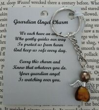 HANDCRAFTED GUARDIAN ANGEL CHARMS KEYRING BAGCHARM TEACHER GIFT GOLDEN BROWN