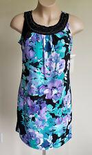 Laura Ashley M Shift Dress Bora Bora Sleeveless Scoop Aqua Black Floral NWT