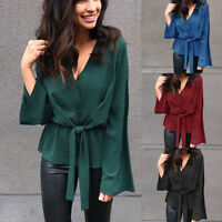 Womens Summer Flare Long Sleeve Blouse V-Neck Shirt Ladies Office Chiffon Tops