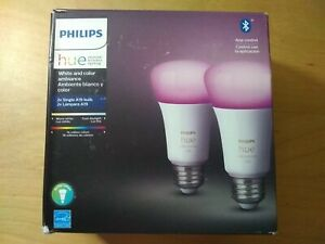 New Philips Hue White and Color Ambiance 2-Pack A19 LED Smart Bulb