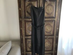 New Robert Rodrigues Women Sleeveless Leather  Dress Black Size 8