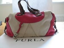 Furla expandable Adriana top handle /shoulder bag in pink leather and canvas