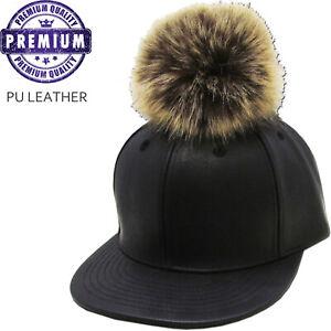 Fur Ball Polyurethane Leather Strapback Baseball Cap Adjustable