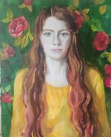 Oil painting IMPRESSIONISM YOUNG WOMAN PORTRAIT RED HAIR ROSE GREEN Original