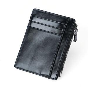 Ultra Slim Minimalist Genuine Leather Credit Card Holder RFID Blocking Wallet