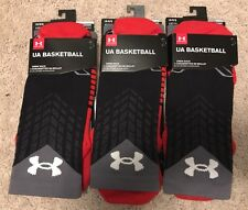 3 Pair Under Armour UA Basketball Crew Socks Sz. Large 9-12.5 New In Package!